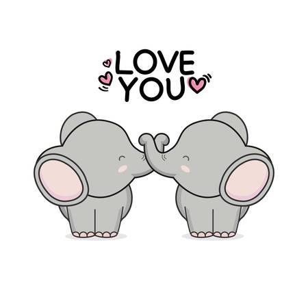 Valentines day greeting card. Cute couple elephant hand drawn cartoon animal character.