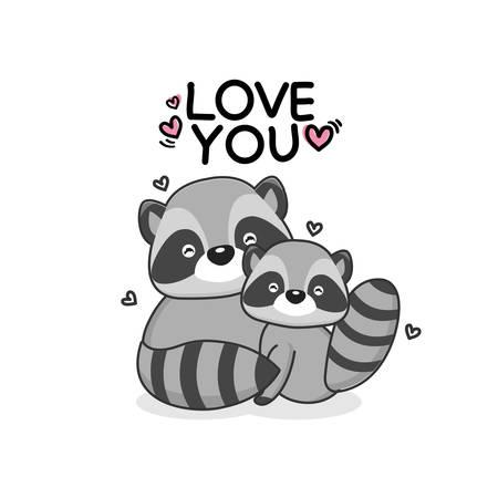 Valentines day greeting card. Cute couple raccoon hand drawn cartoon animal character.