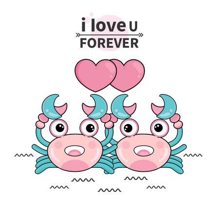 Cute couple crab in cartoon style for Happy Valentine's greeting card. Stock Illustratie