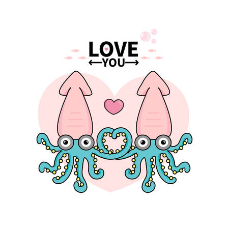 Cute couple octopus in cartoon style for Happy Valentine's greeting card.