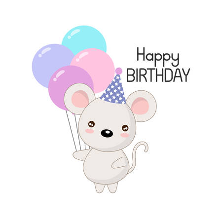 Cute happy birthday card with funny mouse.