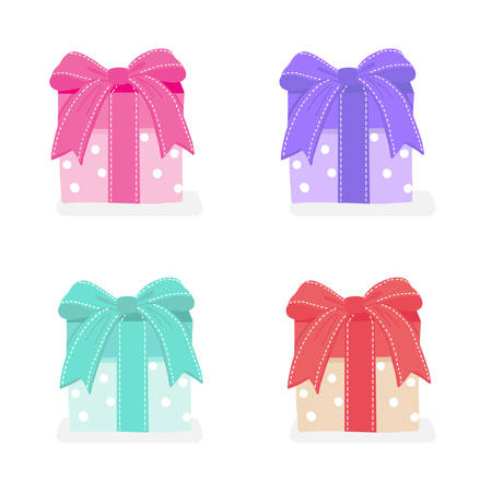Set of colourful  gift present boxes.