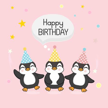 Happy cute Penguins celebrate birthday. Vector illustration