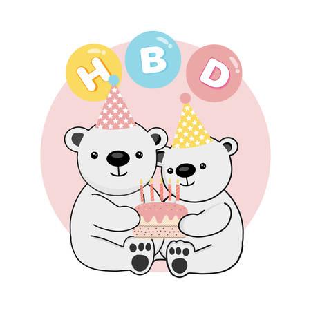 Happy cute Polar Bear celebrate birthday. Vector illustration Stock Illustratie