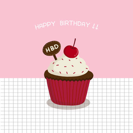 happy birthday card with cute cake. vector illustration.