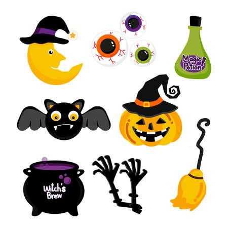 Happy Halloween decorative elements with traditional characters. Ilustração Vetorial