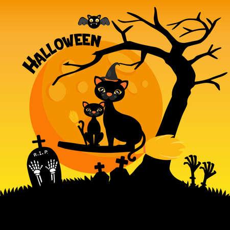 Halloween greeting card Vector Illustration.