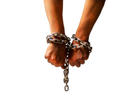 criminal, prison, metal, hand, chain, iron, secure, white, justice, law, jail, steel, thief, prisoner, isolated, security, crime, police, offense, evidence, arrest, suffering, discipline, imprisoned, danger, ban, whip, lockup, tie, reliable, detention, bind, offence, fine, liberty, legal, lock, links, connection, block, trap, catch, cuff, struggle, sky, sentence, gang, old, enforcement Stock Photo