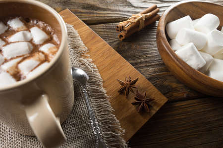 Cocoa, Marshmallow and cinnamon on rustic table.