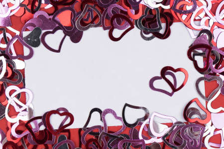 Many Red Heart Shape On White Background, Frame And Space For ...
