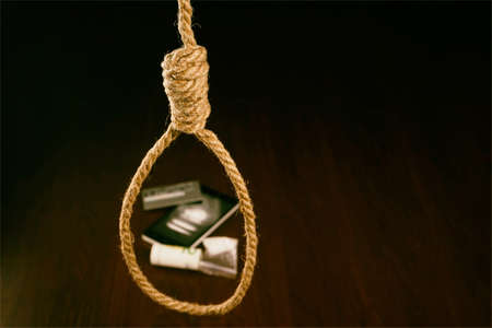 Concept. The noose hanging from the ceiling which are drugs. Copy paste Stock Photo