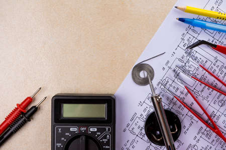 Multimeter, soldering tool and hand tools for electronics assembly. Copy space. Stock Photo