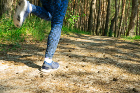 Young fitness woman runner legs running on morning tropical forest trail