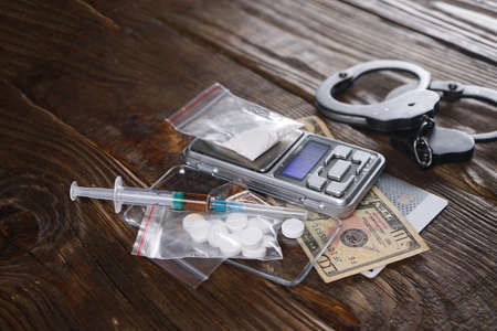 Drug use deprives a person of freedom. Concept against drugs. Copy space.