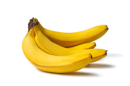 Bunch of ripe bananas isolated on white background.