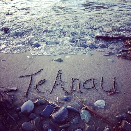 anau: Te Anau written in sand at Lake Te Anau New Zealand