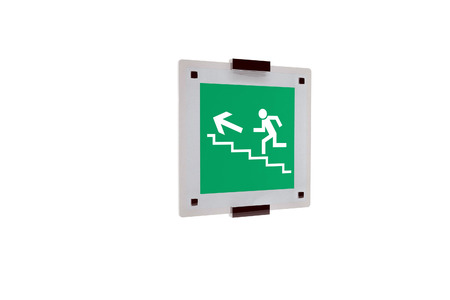 Plate with emergency signal - output at the top of the stairs photo