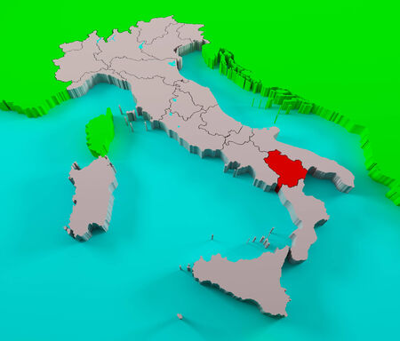 basilicata: Italy with Basilicata region highlighted