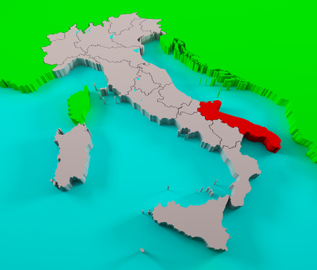 solid state: Italy with Puglia region highlighted Stock Photo