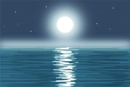 volle maan: volle maan op de zee