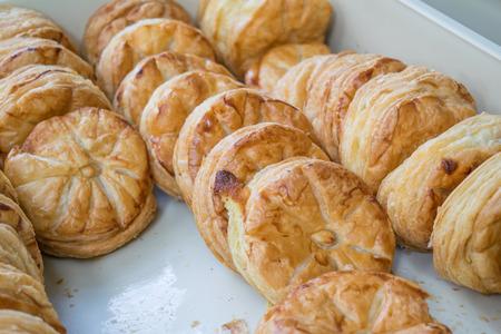 danish puff pastry: fresh danish pie on tray