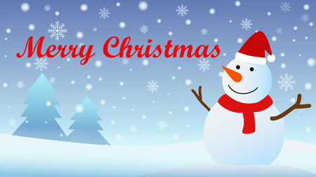 Christmas Background with Snow fall and Snow man - Vector Illustration