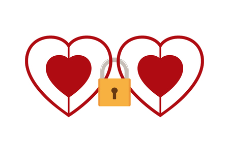 Vector illustration of hearts locked together with padlock isolated on white background - Love concept