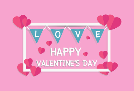 Valentines day banner with heart paper craft style on pink background vector illustration.