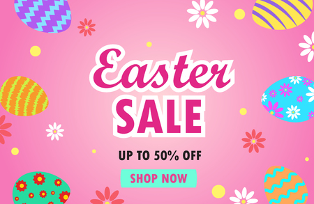 Vector illustration of easter sale banner with colorful easter eggs on pink background Illustration
