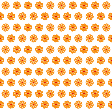Vector illustration of abstract seamless flowers orange color background