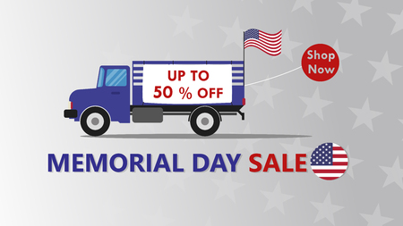 Memorial Day sale banner template design with truck carry flag american - Vector illustration