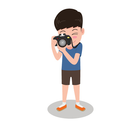 Vector illustration character cartoon photographer with camera standing taking photos isolated on white background Standard-Bild - 102337755