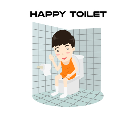 Cartoon happy man sitting on a toilet and smiling isolated on white background - Vector illustration Illustration