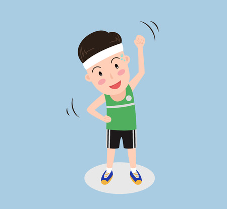 vector illustration a man exercise isolated background Vettoriali