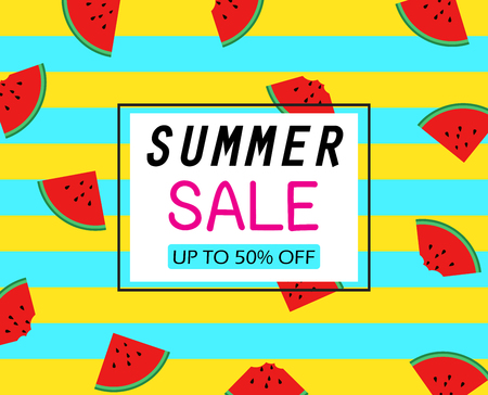 Summer sale template banner on slice watermelons pattern Stock Vector - 102665569