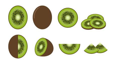 Set of fresh kiwi fruit isolated on white background - Vector illustration Çizim