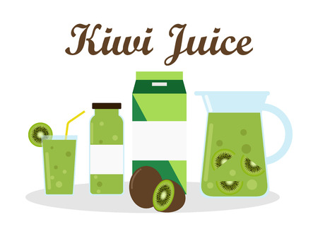 kiwi juice with pack template packaging design - vector illustration