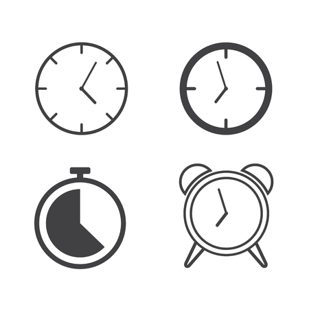Set of line clocks icons - Vector illustration