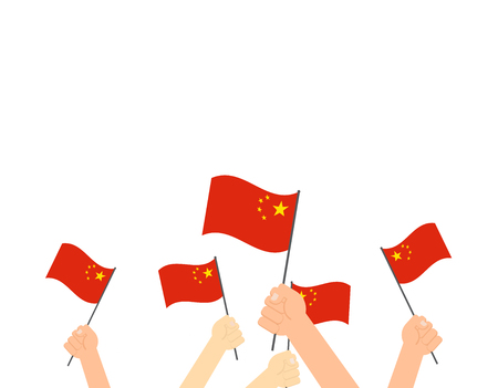 Vector illustration of hands holding China flags - China Happy National Day greeting card