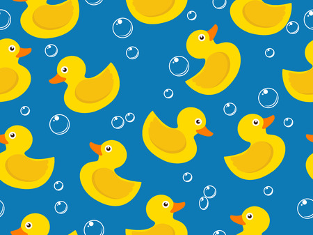 seamless pattern of yellow rubber duck on blue background