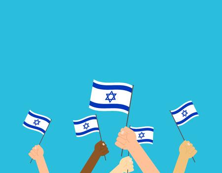 Illustrazione vettoriale mani che tengono le bandiere israeliane su sfondo blu