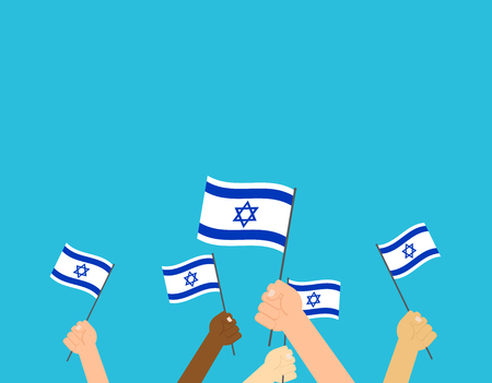 Vector illustration hands holding Israeli flags on blue background Ilustração