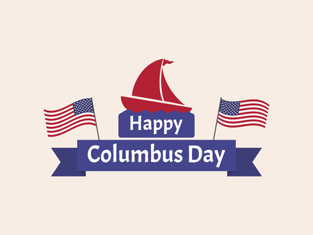 Happy Columbus Day greeting card template banner background