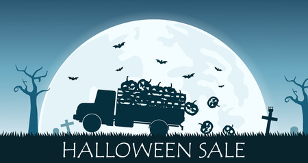 Halloween sale banner with truck carry smile pumpkin on the full moon background - Vector illustration Иллюстрация