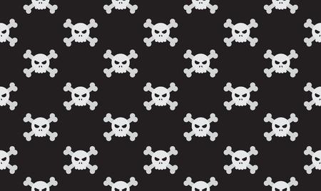 Vector illustration seamless skulls and crossbones on black background