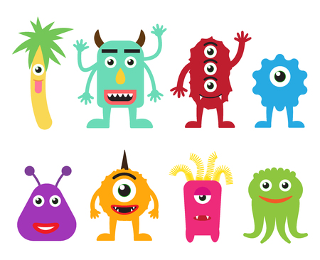 Collection of cute cartoon monsters vector illustration