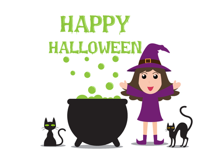 Halloween background witch cooking poisonous in cauldron with green potion