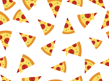 Seamless vector pizza slice isolated on white background  イラスト・ベクター素材