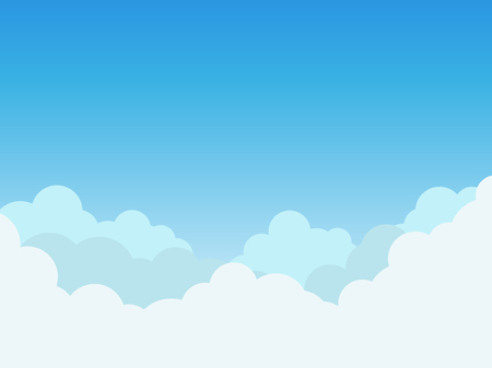 Vector illustration clouds on blue sky background