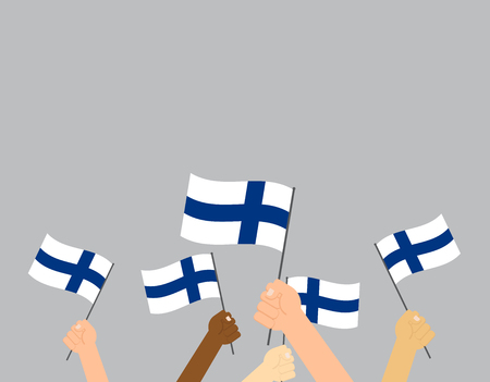 Vector illustration hands holding Finland flags on gray background  イラスト・ベクター素材